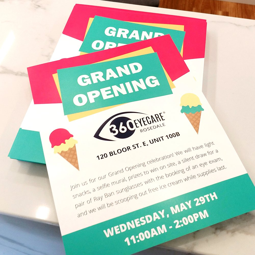 360 Eyecare Rosedale Grand Opening - Optometry Clinic Flyers
