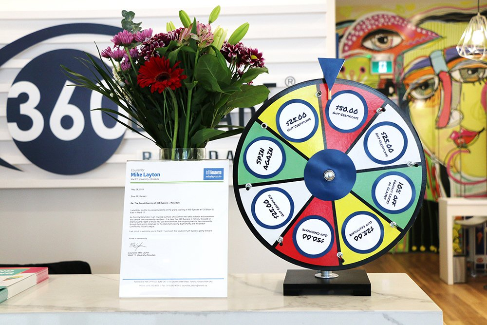 360 Eyecare Rosedale Grand Opening - Optometry Clinic Prize Wheel